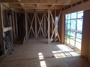 屋根、耐震面材、筋交いと窓、サッシの取り付け完了